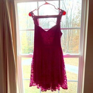 Cute backless deep pink lace dress